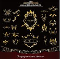 verschiedene dekorative goldene Elemente gesetzt vektor