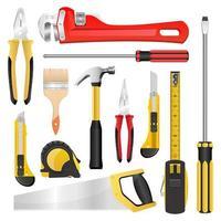 Werkzeuge auf Weiß gesetzt