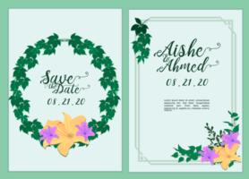 Hochzeitseinladungskarte mit schöner lila und gelber Orchidee und Blättern vektor