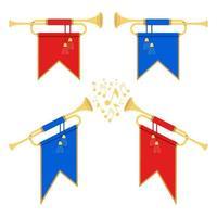 goldene Horntrompete auf weiß vektor