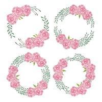 akvarell pion blomma krans cirkel ram uppsättning