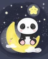 Baby Panda sitzt auf dem Mond