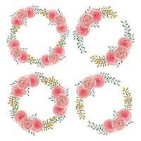 rosa akvarell ros blomma krans uppsättning
