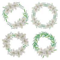 weiße Lilie Blumenkreis Rahmen Aquarell Set vektor