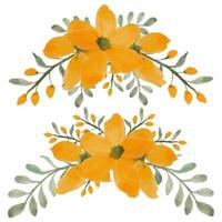 handmålade akvarell gula kronblad blommakurvan set