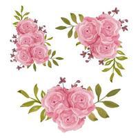 rosa Rosenblumendekoration Vintage Aquarellart-Sammlung