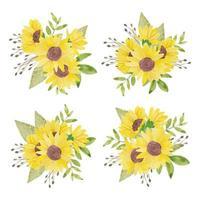 Aquarell handgemalte Sonnenblumenanordnung gesetzt vektor