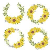 Aquarell handgemalte Sonnenblumen Kreis Kranz Set vektor
