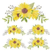 Aquarell handgemalte Sonnenblumenstrauß Sammlung vektor