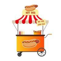 Hot Dog Street Shop isoliert auf weißem Hintergrund