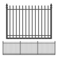 Eisen geschmiedeter Zaun lokalisiert auf weißem Hintergrund vektor