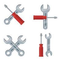 Schraubenschlüssel-Werkzeugsatz lokalisiert auf weißem Hintergrund