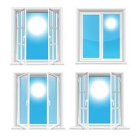 transparente Fenster und sonniger Himmel lokalisiert auf weißem Hintergrund vektor
