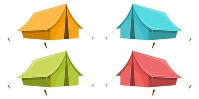 campingtält isolerad på vit bakgrund vektor