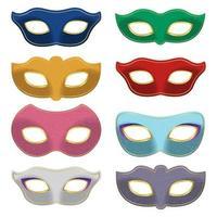 Karnevalsmasken-Set lokalisiert auf weißem Hintergrund