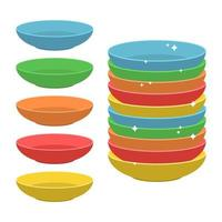farbige Platten isoliert auf weißem Hintergrund vektor