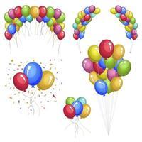farbige Luftballons lokalisiert auf weißem Hintergrund vektor