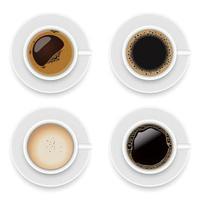 Tassen Kaffeevektor lokalisiert auf weißem Hintergrund vektor