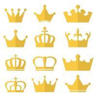königlicher Kronensatz lokalisiert auf weißem Hintergrund vektor