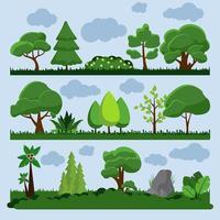 träd och gräs landskapsuppsättning vektor