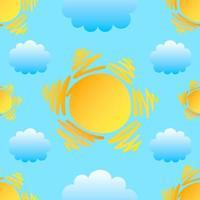 sol och moln sömlösa mönster vektor