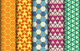uppsättning färgglada geometriska sömlösa mönster vektor