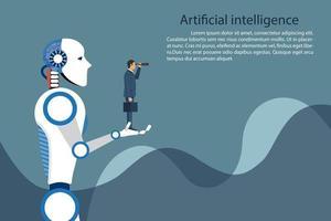 ai robot håller affärsman i handen vektor