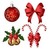 Weihnachtsdekoration und Ornament gesetzt vektor