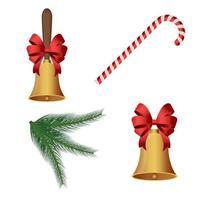 Weihnachtsdekoration mit Glocken besetzt vektor