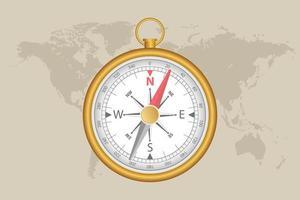 Weltkarte und Magnetkompass vektor