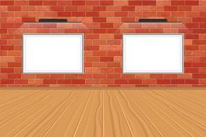 modellbild med LED-ljus på tegelväggen vektor