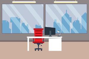 kreativ kontorsarbetsplats med stora fönster