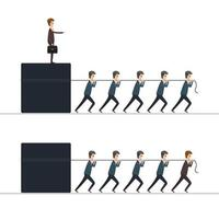 affärsmän som drar chef och kub