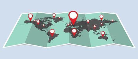gefaltete Weltkarte mit Stiften vektor