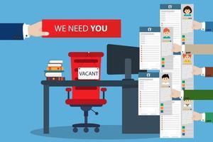 Rekrutierungsplakat mit Lebensläufen und wir brauchen Ihre Unterschrift vektor