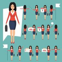 uppsättning av affärskvinnor i olika positioner vektor