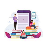 utbildningsdesign för mobil onlinekurs vektor