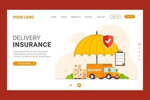 Landingpage zum Schutz der Lieferversicherung vektor