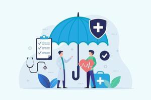 Krankenversicherungsdesign mit Regenschirmschutz