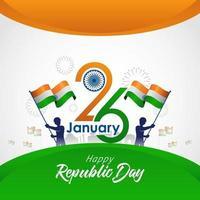 Tageskarte der indischen Republik mit Flaggen und Feuerwerk vektor