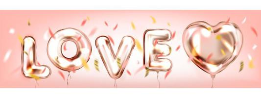 kärlek i en luftrosa romantisk banner vektor