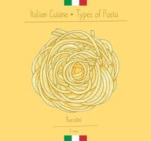 italiensk mat bucatini sphagetti-liknande pasta