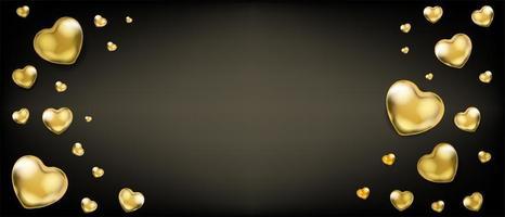 galabakgrund med gyllene hjärtballonger vektor