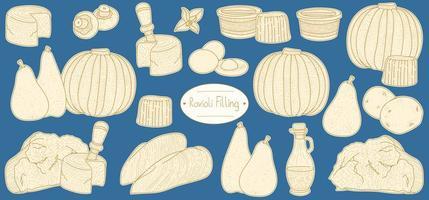 ingredienser för fyllning för fylld pasta ravioli vektor