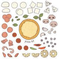 Pizzakruste und Toppings vektor