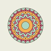 rosa, grün und orange spitzes und rundes Mandala vektor