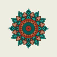 orange und grünes Mandala mit geschichteten Punkten vektor
