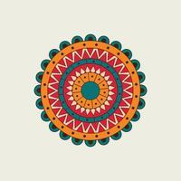 rotes, orangefarbenes und blaues Mandala mit Halbkreisen vektor