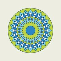 blaues und grünes Mandala mit gepunktetem Ring vektor