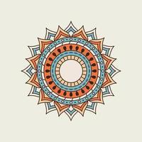 blaues und orangefarbenes Mandala mit Loch in der Mitte vektor